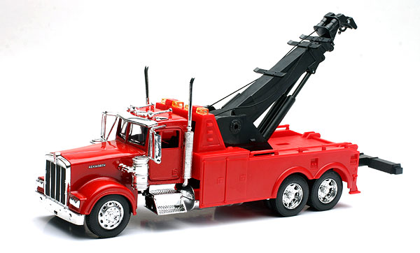 Kenworth W900 Tow Truck Arm raises and lowers but the pulleys are static. Cab is made of diecast metal., NewRay Item Number NR10873