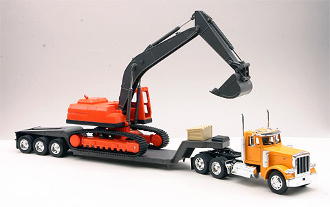 Peterbilt 379 Big Rig with Backhoe and Lowboy Trailer cab is die-cast metal balance is high impact plastic, NewRay Item Number NR11283A