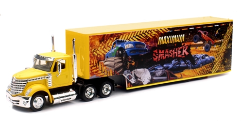 International Lonestar and Trailer with Maximum Smasher Monster Truck Graphics (1:43), New Ray Item Number NR16663