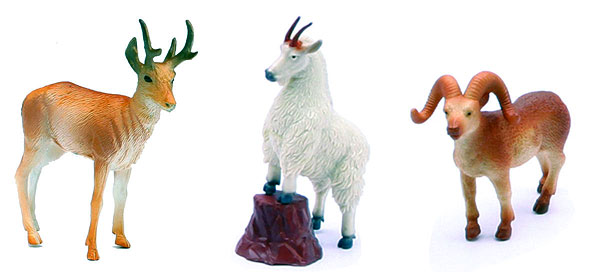 Three Piece Wild Life Play set <br>Includes 2 Mountain goats and a Deer (1:12), NewRay Item Number NR73617-E