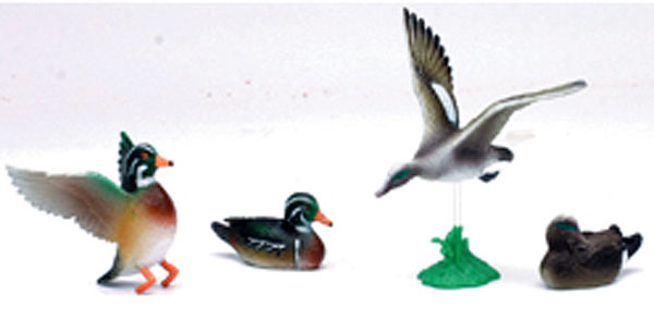 Five Piece Wild Life Play Set <br>Includes Four ducks and one stand (1:12), NewRay Item Number NR73617-F