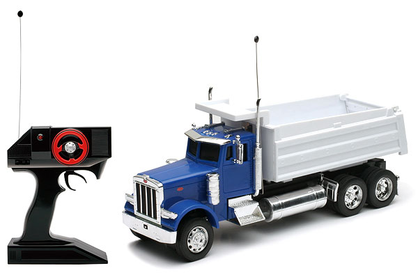 Peterbilt W900 Dump Truck in Blue and White, NewRay Item Number NR88853