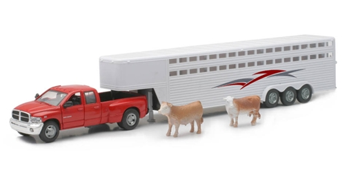 Dodge Ram Fifth Wheel with Livestock Trailer and Cattle The Dodge Ram truck will be done in diecast metal  (1:32), NewRay Item Number NRSS-10923C