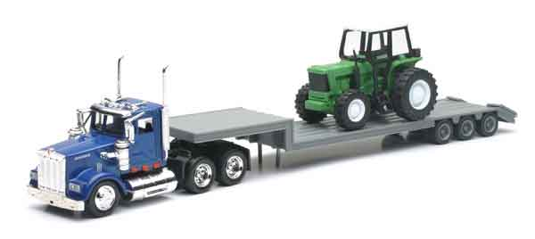 Kenworth Truck with Lowboy Hauling A Farm Tractor, NewRay Item Number NRSS-15263