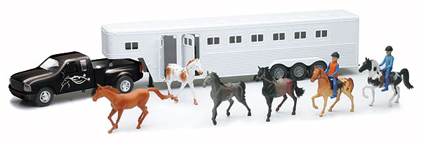 Pick-Up in Black with Horse Trailer and Accessories Truck is diecast metal<br> Trailer is plastic (1:32), NewRay Item Number NRSS-15385