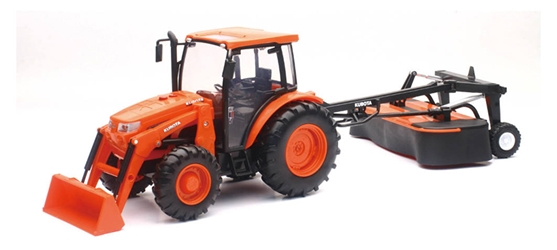 Kubota M5111 Tractor with Disc Mower Light and Sound  1:18 by New Ray Diecast Item Number: NRSS-33053