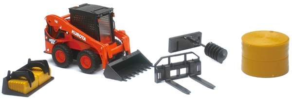 Kubota SSV65 Skid Loader with Interchangeable Attachments and Hay Bales Attachments (1:18), New Ray Item Number NRSS-33133C
