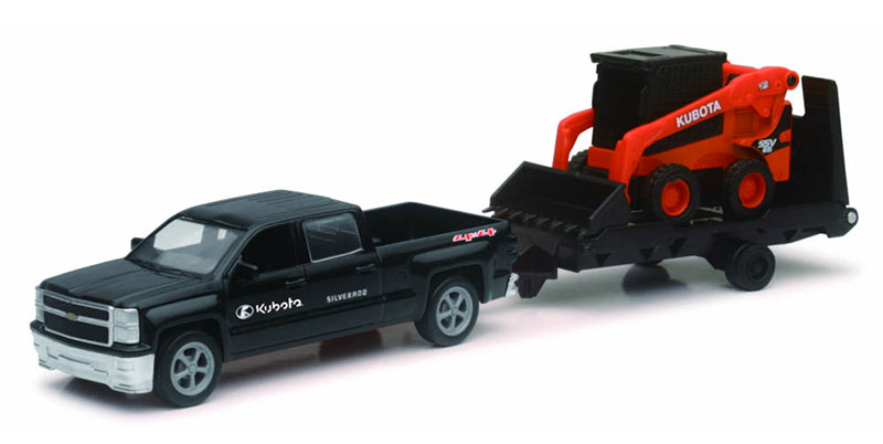 Kubota SSV65 Wheel Loader on Trailer with Ford Pickup Truck (1:32), New Ray Item Number NRSS-34203