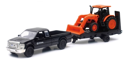 Kubota M5-111 Wheel Loader on Trailer with Ford Pickup Truck (1:32), New Ray Item Number NRSS-34213