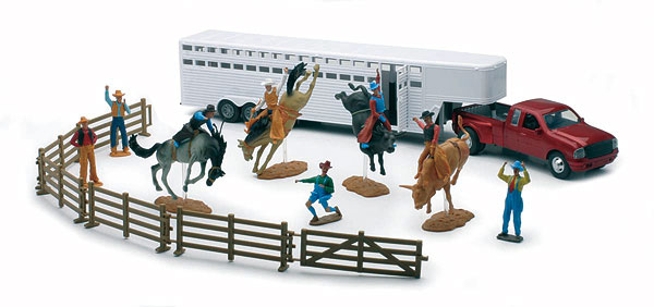 Rodeo Playset with Fifth Wheel Trailer and Red Truck, NewRay Item Number NRSS-38075-B