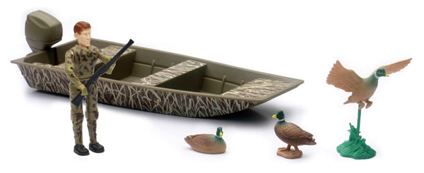 Duck Hunting Playset with Boat Playset Includes (1:18), New Ray, Item Number NRSS-76236-A