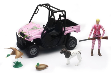 Duck Hunting Set with Side-by-Side ATV in Pink Camo Hunter Figure and Hunting Accessories (1:12), New Ray Item Number NRSS-76446B