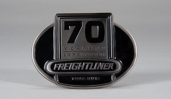 Freightliner 70th Anniversary Black Enamel Buckle<br>70 Years of Innovation - 1942 - 2012