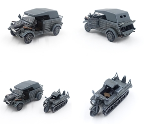 Type 82 Kubelwagen + Sd.Kfz.2 Kettenkrad 2nd Panzer Division, German Army, 1940 (Plastic) (1:72)