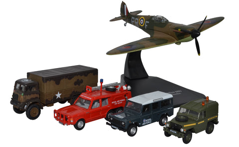 "5-Piece Royal Air Force Centenary Set, Spitfire, Bedford QLD, Land Rover ""Lightweight,"" Land Rover Defender, TACR2 (1:76 OO Scale) by Oxford Diecast Military Vehicles"