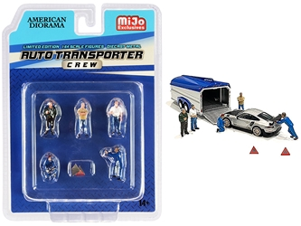 Auto Transporter Crew Diecast Set of 7 pieces (5 Figurines and 2 Warning Triangles) for 1/64