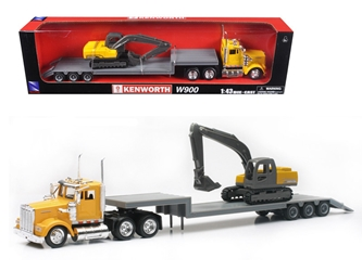 Kenworth W900 Lowboy Yellow With Backhoe Excavator (1:43) Model, New Ray Item Number NR15293