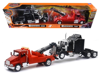 Kenworth T300 Tow Truck Red and Kenworth W900 Cab Black (1:43), New Ray Item Number SS-15063