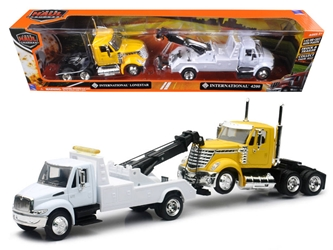International 4200 Tow Truck White and International Lonestar Cab Yellow (1:43), New Ray Item Number SS-15073