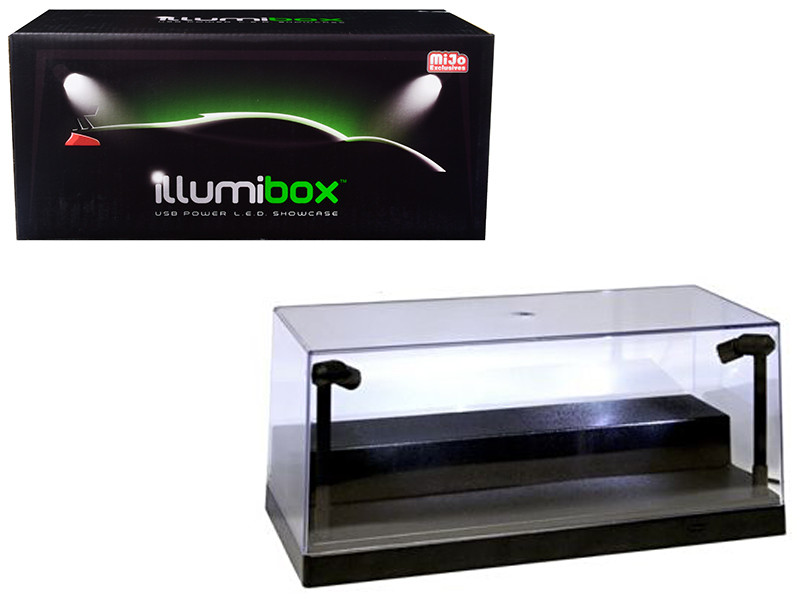 USB Powered Plastic Collectible Display Show Case Black 1/24 Scale with Riser Option to Display 1/64 Scale Diecast Models with L.E.D. Lights by, Illumibox Item Number ILLUMI10001