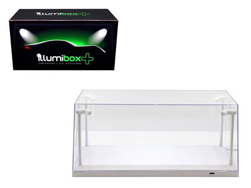Collectible Display Show Case with LED Lights for 1/18 1/24 Models with White Base by Illumibox, Illumibox Item Number 14005