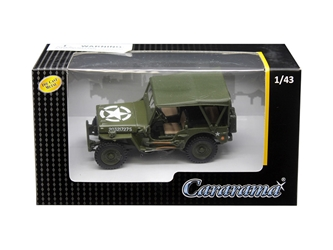 1/4 Ton Military Vehicle Soft Top Green 1/43 Diecast Model Car by Cararama, Cararama Item Number CRR4-90180