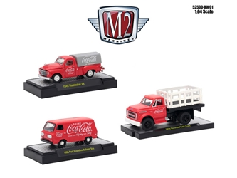 """Coca-Cola"" Release 1 Set of 3 Cars 1/64 Diecast Models by M2 Machines, M2 Item Number 52500-RW01"