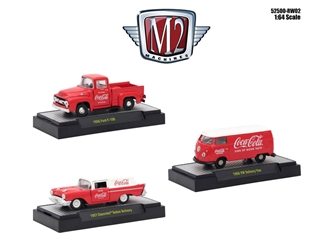 """Coca-Cola"" Release 2, Set of 3 Cars Limited Edition to 4,800 pieces Worldwide Hobby Exclusive 1/64 Diecast Models by M2 Machines, M2 Item Number 52500-RW02"
