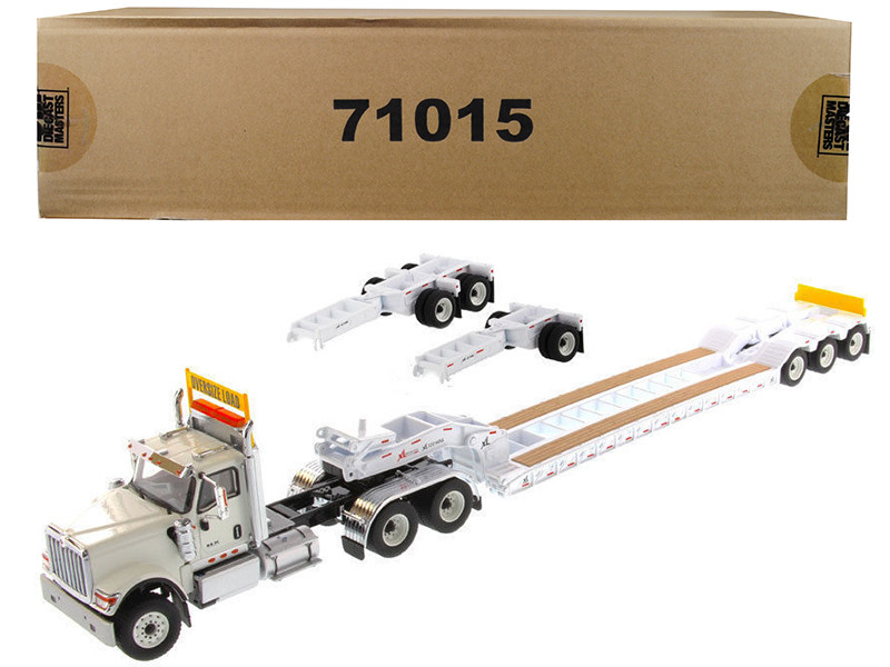 International HX520 Tandem Tractor White with XL 120 Lowboy Trailer 1/50 Diecast Model by Diecast Masters, Diecast Masters, Item Number 71015