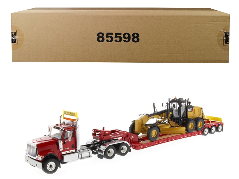 International HX520 Tandem Tractor Red with XL 120 Lowboy Trailer and CAT Caterpillar 12M3 Motor Grader Set of 2 pieces 1/50 Diecast Models by Diecast Masters, Diecast Masters, Item Number 85598