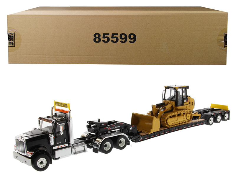 International HX520 Tandem Tractor Black with XL 120 Lowboy Trailer and CAT Caterpillar 963K Track Loader Set of 2 pieces 1/50 Diecast Models by Diecast Masters, Diecast Masters, Item Number 85599