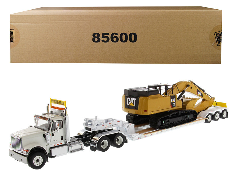 International HX520 Tandem Tractor White with XL 120 Lowboy Trailer and CAT Caterpillar 349F L XE Hydraulic Excavator Set of 2 pieces 1/50 Diecast Models by Diecast Masters, Diecast Masters, Item Number 85600