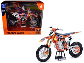 "KTM 450 SX-F #2 Cooper Webb with Supercross #1 Plate Stickers ""Red Bull KTM Factory Racing"" 1/10"
