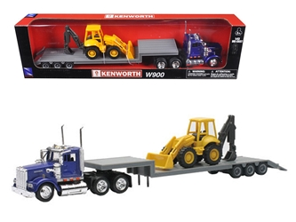 Kenworth W900 Lowboy Blue With Tractor (1:43) Model, New Ray Item Number NR15303