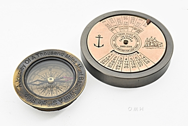 100 Year Calendar & Compass Quote Set of 2, Old Modern Handicrafts, Item Number AK034