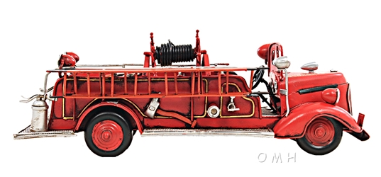 1938 Red Fire Engine Ford 1:40, Old Modern Handicrafts, Item Number AJ020
