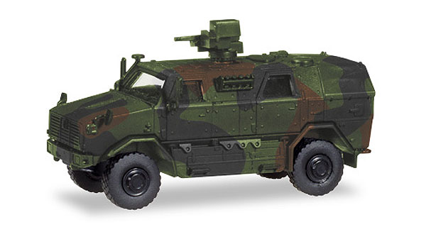 ATF Dingo mit FLW 100 Armored Infantry Mobile Vehicle in Camo 1:87 high quality plastic by Herpa Military Vehicles Item Number HE746151