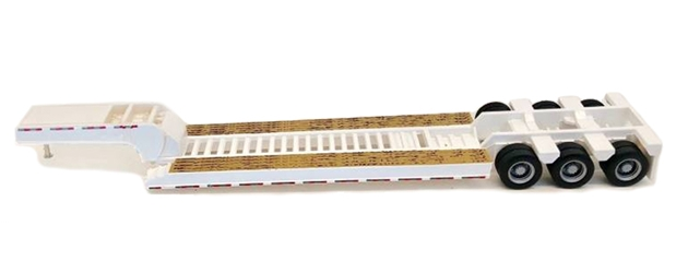 3-Axle Lowboy Trailer in White (1:87 / HO) - Plastic by Promotex item number: PRX005489WT